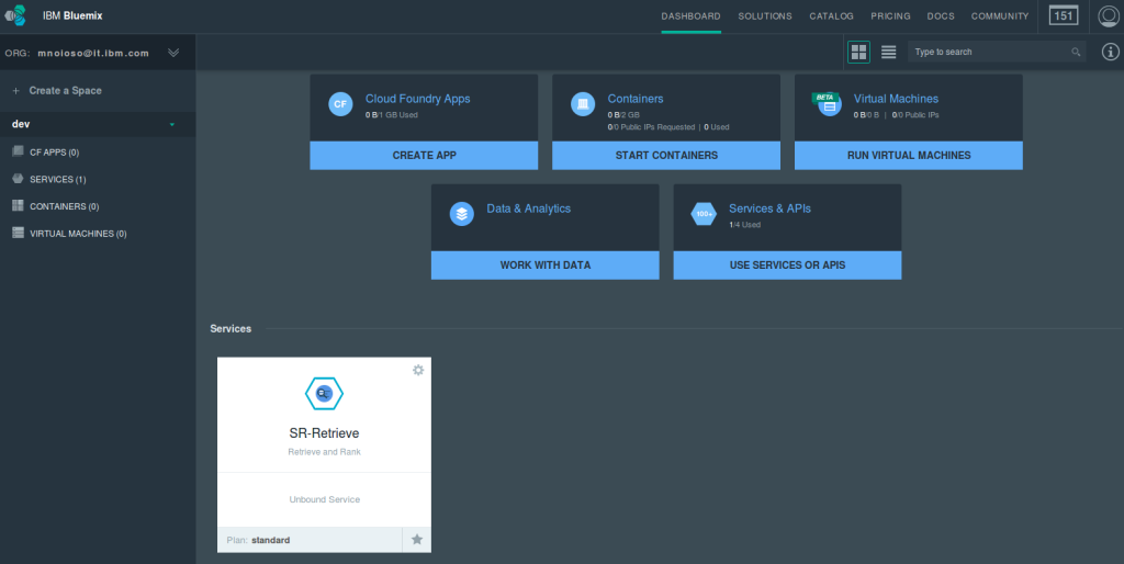 IBM Bluemix dashboard