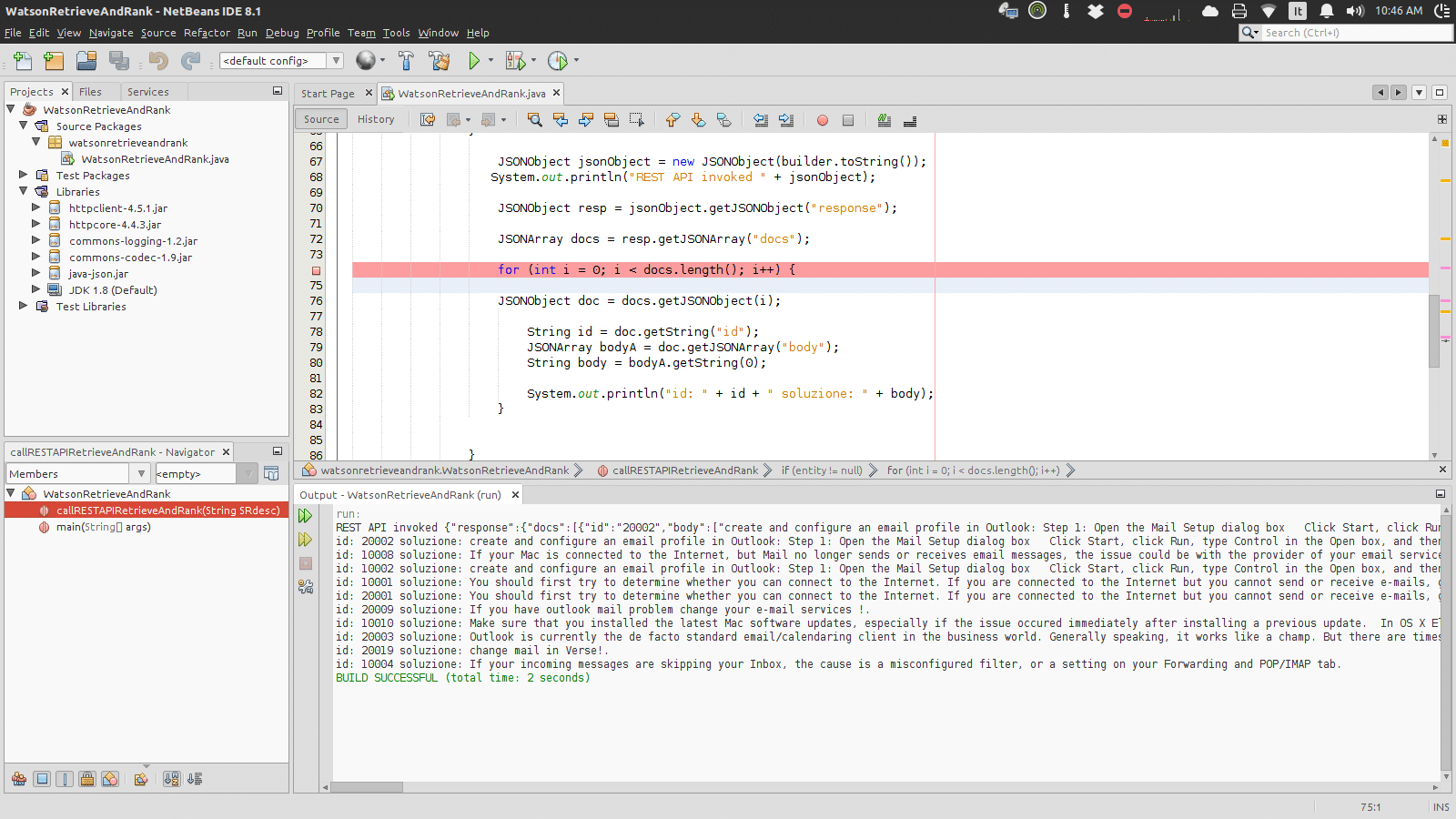 Simple REST client in Java for IBM Watson