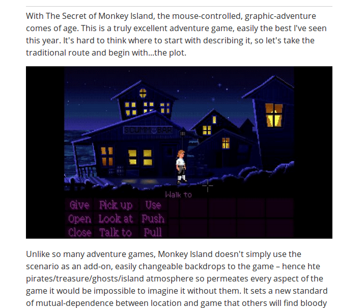 The Secret of Monkey Island Sentiment Review