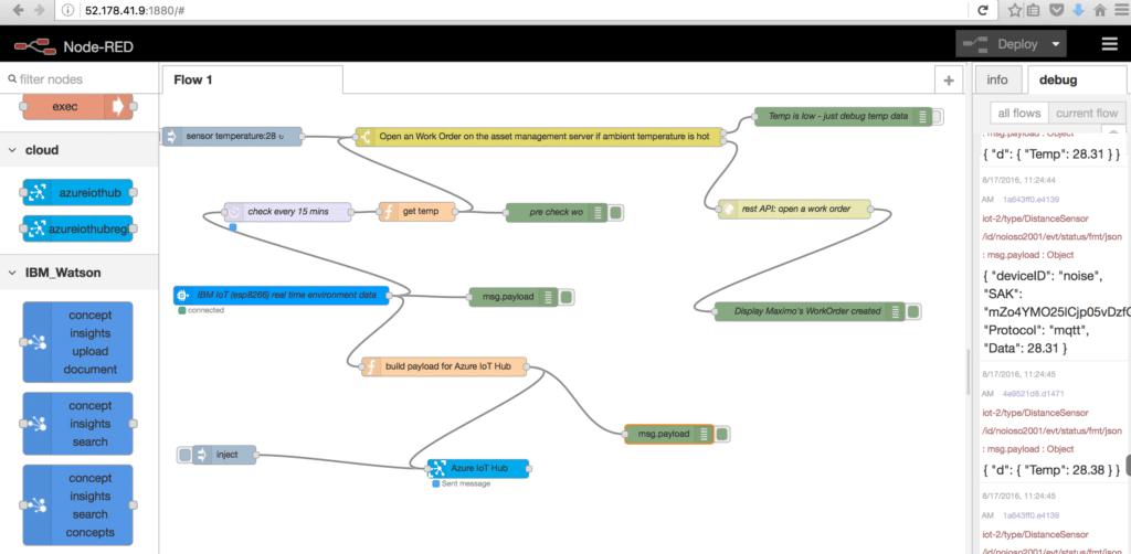 node-RED flow for Azure
